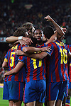 Football Season 2009-2010. Barcelona's players celebrating Pedro Rodriguez second goal during the Spanish first division soccer match at Camp Nou stadium in Barcelona November 07, 2009.