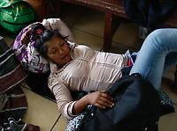 """Sandra Hernadez hondureña de 22 años, intenta descansar en el Comedor Comunitario de la colonia San Luis de Hermosillo Sonora. <br /> <br />  Caravana del Migrante integrada por 600 personas en su mayoría de origen centroamericano, arribo a Hermosillo a bordo del tren conocido como """"La Bestia"""", provienen de la frontera Sur del País y con rumbo a la ciudad de Mexicali donde continuaran el viaje hasta Tijuana.<br /> La caravana tiene como objetivo solicitar <br /> asilo a Estados Unidos y algunos integrantes piensan solicitar una visa humanitaria en Mexico para laborar en los campos de Sonora y Baja California.<br /> (Photo: AP/Luis Gutierrez)"""