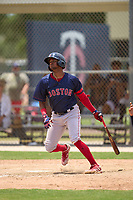 FCL Red Sox Antoni Flores (2) bats during a game against the FCL Twins on July 3, 2021 at CenturyLink Sports Complex in Fort Myers, Florida.  (Mike Janes/Four Seam Images)