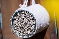 Wildbienen-Nisthilfe mit Bambus, Bambus-Röhrchen, Bambusstäben in einer Konservendose, als Schutz vor Vögeln wird ein Maschendraht, Drahtgitter einige Zentimeter vor den Niströhren angebracht, Vogelschutz-Gitter, Dose wurde mit Schnur, Sisal, Band eingewickelt, Röhrchen, Niströhrchen, Niströhren aus Wildbienen-Nisthilfen, Wildbienen-Nisthilfe selbermachen, selber machen, Wildbienenhotel, Insektenhotel, Wildbienen-Hotel, Insekten-Hotel