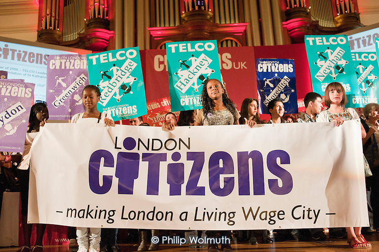 """A """"Day for Civil Society"""" organized by Citizens UK / London Citizens to celebrate 10 years of the Living Wage Campaign, launch a National Living Wage Foundation and call for the living wage to be adopted nationally.  Central Hall, Westminster."""