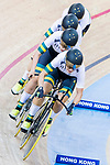 The team of Australia with Amy Cure, Ashlee Ankudinoff, Alexandra Manly and Rebecca Wiasak compete in the Women's Team Pursuit Finals as part of the 2017 UCI Track Cycling World Championships on 13 April 2017, in Hong Kong Velodrome, Hong Kong, China. Photo by Chris Wong / Power Sport Images