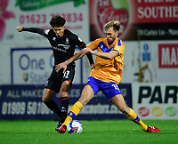 Lincoln City's Jamie Soule battles with Mansfield Town's Aaron O'Driscoll<br /> <br /> Photographer Andrew Vaughan/CameraSport<br /> <br /> EFL Trophy Northern Section Group E - Mansfield Town v Lincoln City - Tuesday 6th October 2020 - Field Mill - Mansfield  <br />  <br /> World Copyright © 2020 CameraSport. All rights reserved. 43 Linden Ave. Countesthorpe. Leicester. England. LE8 5PG - Tel: +44 (0) 116 277 4147 - admin@camerasport.com - www.camerasport.com