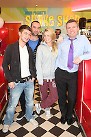 """NO REPRO FEE. 26/5/2011. NEW EDDIE ROCKET'S SHAKE SHOP. Greg Mayford, Paul Stenson, Alison Vard and Declan Farell are pictured in the new Eddie Rocket's Shake Shop. The design seeks to recall the vintage milkshake bars from 1950's America and re-imagine them for the 21st century. The new look aims to appeal to both young and old with a quirky and bold colour scheme and a concept of make-your-own milkshakes, based on the tag line """"You make it...We shake it!"""". Eddie Rocket's City Diner in the Stillorgan Shopping Centre in south Dublin has re-opened after an exciting re-vamp and the addition of a Shake Shop. Ten new jobs have been created with the Diner's re-launch bringing the total working in Eddie Rocket's Stillorgan to 30. Picture James Horan/Collins Photos"""
