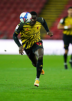 Ken Sema of Watford during the Sky Bet Championship behind closed doors match played without supporters with the town in tier 4 of the government covid-19 restrictions, between Watford and Norwich City at Vicarage Road, Watford, England on 26 December 2020. Photo by Andy Rowland.
