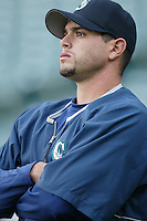 Joel Pineiro of the Seattle Mariners before a 2002 MLB season game against the Los Angeles Angels at Angel Stadium, in Los Angeles, California. (Larry Goren/Four Seam Images)