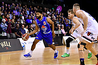 Dion Prewster of the Wellington Saints dribbles the ball during the round one NBL match between the Wellington Saints and the Canterbury Rams at TSB Bank Arena, Wellington, New Zealand on Friday 30 April 2021.<br /> Photo by Masanori Udagawa. <br /> www.photowellington.photoshelter.com