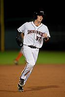 Delmarva Shorebirds Adley Rutschman (37) running the bases during a South Atlantic League game against the Greensboro Grasshoppers on August 21, 2019 at Arthur W. Perdue Stadium in Salisbury, Maryland.  Delmarva defeated Greensboro 1-0.  (Mike Janes/Four Seam Images)