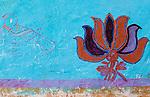 Colorful wall mural, Rajasthan, India