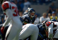 Sep 18, 2005; Seattle, WA, USA; Seattle Seahawks quarterback Matt Hasselbeck #8 calls out a play against the Atlanta Falcons in the second quarter at Qwest Field. Mandatory Credit: Photo By Mark J. Rebilas