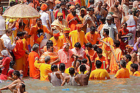 the Sadhu approch Har Ki Pauri.ghat  in Hariwar India to take the holy bath into Ganga river to take human out of the circle of life & death ( stage known as Moksha )