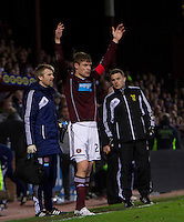 03.01.2012 Edinburgh, Scotland. Hearts Marius Zaliukas waits to come back on after a knock during the Clydesdale Bank Scottish Premier League game and 1st Edinburgh Derby game of 2013 between  Heart Of Midlothian and Hibernian from Tynecastle Stadium.