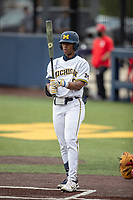 Michigan Wolverines outfielder Clark Elliott (15) at the plate against the Ohio State Buckeyes on April 9, 2021 in NCAA baseball action at Ray Fisher Stadium in Ann Arbor, Michigan. Ohio State beat the Wolverines 7-4. (Andrew Woolley/Four Seam Images)