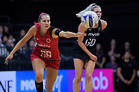 England's George Fisher chases the ball during the Cadbury Netball Series Taini Jamison Trophy match between New Zealand Silver Ferns and England Roses at Claudelands Arena in Hamilton, New Zealand on Wednesday, 28 October 2020. Photo: Dave Lintott / lintottphoto.co.nz