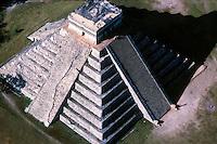 Mayan sun pyramid aerial view Yucatan Mexico