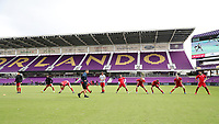 Orlando, Florida - Saturday January 13, 2018: Team Predator warms up before their first game. Match Day 1 of the 2018 adidas MLS Player Combine was held Orlando City Stadium.