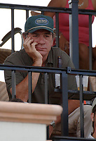 WELLINGTON, FL - APRIL 19, 2006: Oscar winner Tommy Lee Jones and his wife Dawn Jones, (who was recently filling in for her actor-husband Tommy Lee Jones on his San Saba team, injured her right wrist during the US Open polo tournament.) are seen in the stands watching  Orchard Hill Advances to the Finals  in the Stanford U.S. Open at  the International Polo Club in Wellington, Florida <br /> <br /> People;  Tommy Lee Jones; Dawn Jones
