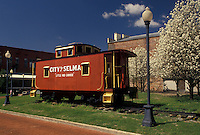 "caboose, city park, Selma, Alabama, AL, """"Little Red Caboose"""" displayed in Lafayette Park in Selma in the spring."