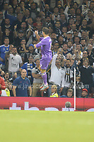 Christiano Ronaldo of Real Madrid celebrates after he scores the first goal  during the UEFA Champions league final  between Juventus and Real Madrid at the National Stadium of Wales on Saturday 3rd June 2017<br /> <br /> <br /> Jeff Thomas Photography -  www.jaypics.photoshelter.com - <br /> e-mail swansea1001@hotmail.co.uk -<br /> Mob: 07837 386244 -