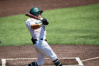 Wright State Raiders catcher Konner Piotto (23) at bat against the Duke Blue Devils in NCAA Regional play on Robert M. Lindsay Field at Lindsey Nelson Stadium on June 5, 2021, in Knoxville, Tennessee. (Danny Parker/Four Seam Images)