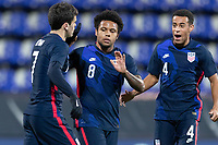 WIENER NEUSTADT, AUSTRIA - : Giovanni Reyna #7 of the United States scores a goal and celebrates during a game between  at Stadion Wiener Neustadt on ,  in Wiener Neustadt, Austria.
