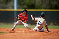 Ball State Cardinals second baseman Noah Navarro (8) waits for a throw as Patrick Causa (16) slides in during a game against the Mount St. Mary's Mountaineers on March 9, 2019 at North Charlotte Regional Park in Port Charlotte, Florida.  Ball State defeated Mount St. Mary's 12-9.  (Mike Janes/Four Seam Images)