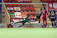 Montel Gibson scores last min pen againt Lawrence Vigouroux during Leyton Orient vs Grimsby Town, Sky Bet EFL League 2 Football at The Breyer Group Stadium on 17th October 2020