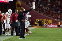 LOS ANGELES, CA - SEPTEMBER 11: Head coach David Shaw of the Stanford Cardinal calls out instructions during a game between University of Southern California and Stanford Football at Los Angeles Memorial Coliseum on September 11, 2021 in Los Angeles, California.