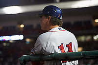 Pawtucket Red Sox coach Bruce Crabbe (11) during a game against the Buffalo Bisons on May 19, 2017 at Coca-Cola Field in Buffalo, New York.  Buffalo defeated Pawtucket 7-5 in thirteen innings.  (Mike Janes/Four Seam Images)