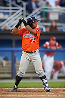 Aberdeen IronBirds first baseman Ronarsy Ledesma (12) at bat during a game against the Batavia Muckdogs on July 15, 2016 at Dwyer Stadium in Batavia, New York.  Aberdeen defeated Batavia 4-2.  (Mike Janes/Four Seam Images)