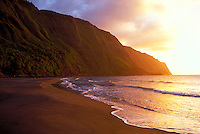 Kalaupapa peninsula beach sunset, Molokai