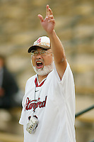 STANFORD, CA - MARCH 26: Super fan Clifford Hayashi during Stanford's 9-8 (OT) win over the Hofstra Pride on March 26, 2004 at Maloney Field in Stanford, California.