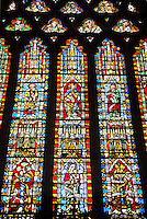 Stained glass of the medieval Wells Cathedral built in the Early English Gothic style in 1175, Wells Somerset, England