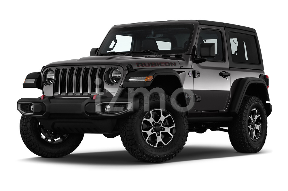 Stock pictures of low aggressive front three quarter view of 2020 JEEP Wrangler Rubicon 5 Door SUV Low Aggressive