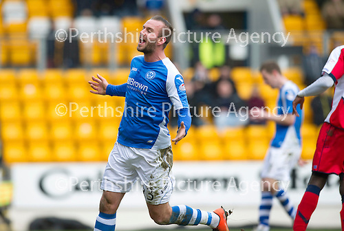 St Johnstone v Kilmarnock.....09.03.13      SPL.Rowan Vine screams in frustration as he puts his shot over the bar .Picture by Graeme Hart..Copyright Perthshire Picture Agency.Tel: 01738 623350  Mobile: 07990 594431