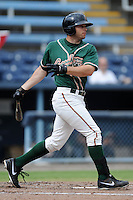 Greensboro Grasshoppers left fielder Cody Keefer #23 swings at a pitch during game one of a double header against the Asheville Tourists on July 2, 2013 in Asheville, North Carolina.  The Tourists won the game 5-3. (Tony Farlow/Four Seam Images)