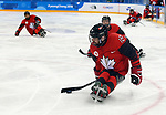 Pyeongchang, Korea, 10/3/2018- Billy Bridges of Canada plays Sweden in hockey during the 2018 Paralympic Games in PyeongChang. Photo Scott Grant/Canadian Paralympic Committee.