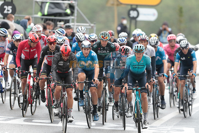 The peloton including Thomas De Gendt (BEL) Lotto Soudal, Jakob Fuglsang (DEN) Astana-Premier Tech and Ivan Garcia Cortina (ESP) Movistar Team crosses the finish line at the end of Stage 16 of the 2021 Tour de France, running 169km from Pas de la Case to Saint-Gaudens, Andorra. 13th July 2021.  <br /> Picture: Colin Flockton | Cyclefile<br /> <br /> All photos usage must carry mandatory copyright credit (© Cyclefile | Colin Flockton)