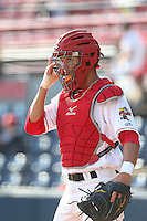 Max Pentecost #6 of the Vancouver Canadians during a game against the Hillsboro Hops at Nat Bailey Stadium on July 24, 2014 in Vancouver, British Columbia. Hillsboro defeated Vancouver, 7-3. (Larry Goren/Four Seam Images)