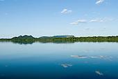 Pará State, Brazil. Xingu River. Rocky hills and rain forest.