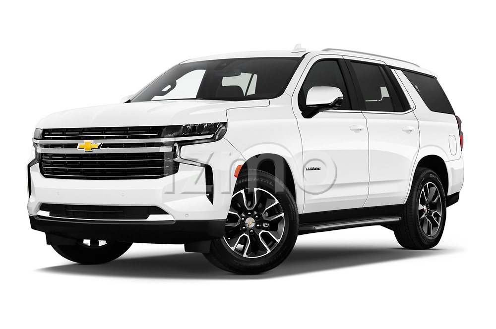 Stock pictures of low aggressive front three quarter view of 2021 Chevrolet Tahoe LT 5 Door SUV Low Aggressive