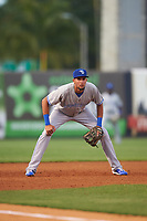 Dunedin Blue Jays third baseman Emilio Guerrero (13) during a game against the Tampa Yankees on April 19, 2016 at George M. Steinbrenner Field in Tampa, Florida.  Tampa defeated Dunedin 12-7.  (Mike Janes/Four Seam Images)