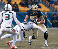 Pitt tight end J.P. Holtz (86). The Miami Hurricanes defeated the Pitt Panthers 41-31 at Heinz Field, Pittsburgh, Pennsylvania on November 29, 2013.