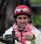 15 APR -Jockey Ramon Dominguez rode Harve de Grace to victory in the 47th running of the Apple Blossom Handicap at Oaklawn Park in Hot Springs, Arkansas.