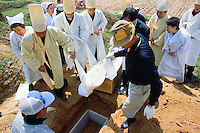 Korea. South Korea. Gimje area. Wonpyong. Funeral ceremony for an old man who died a few days ago. Traditional korean burial and burial service. People shed tears.  Men carry the dead body from the coffin to the burial place and mourn. © 2002 Didier Ruef