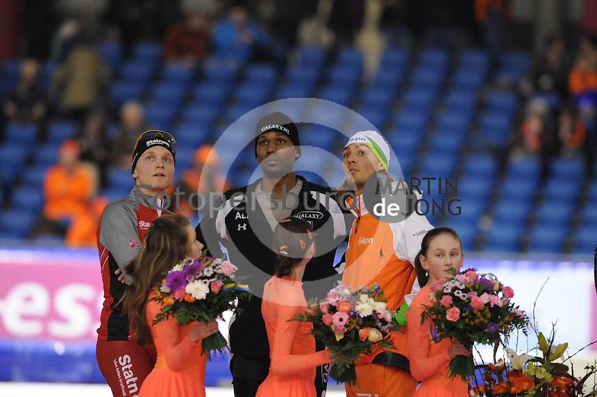 SCHAATSEN: HEERENVEEN: Thialf, Essent ISU World Cup, 02-03-2012, Podium 1500m, Håvard Bøkko (NOR),  Shani Davis (USA), Kjeld Nuis (NED), ©foto: Martin de Jong