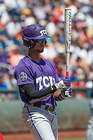 TCU Horned Frogs first baseman Michael Landestoy (13) at the plate against the Texas Tech Red Raiders in Game 3 of the NCAA College World Series on June 19, 2016 at TD Ameritrade Park in Omaha, Nebraska. TCU defeated Texas Tech 5-3. (Andrew Woolley/Four Seam Images)