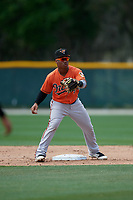 Baltimore Orioles Jean Carmona (24) waits for a throw during a Minor League Spring Training game against the Boston Red Sox on March 20, 2019 at the Buck O'Neil Baseball Complex in Sarasota, Florida.  (Mike Janes/Four Seam Images)