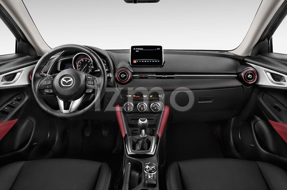 Stock photo of straight dashboard view of 2017 Mazda CX-3 Grand-Touring 5 Door SUV Dashboard