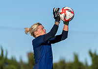 KASHIMA, JAPAN - AUGUST 4: Jane Campbell #21 of the USWNT makes a save during a training session at the practice field on August 4, 2021 in Kashima, Japan.